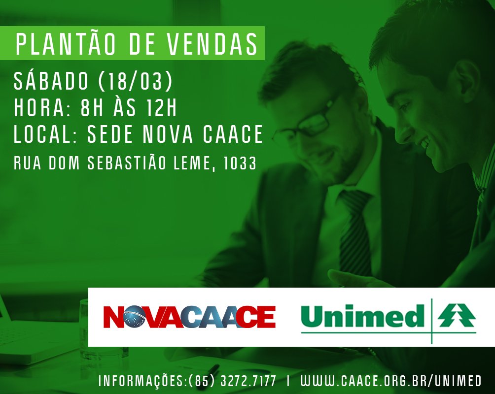 Plantão de vendas plano de saúde Unimed!