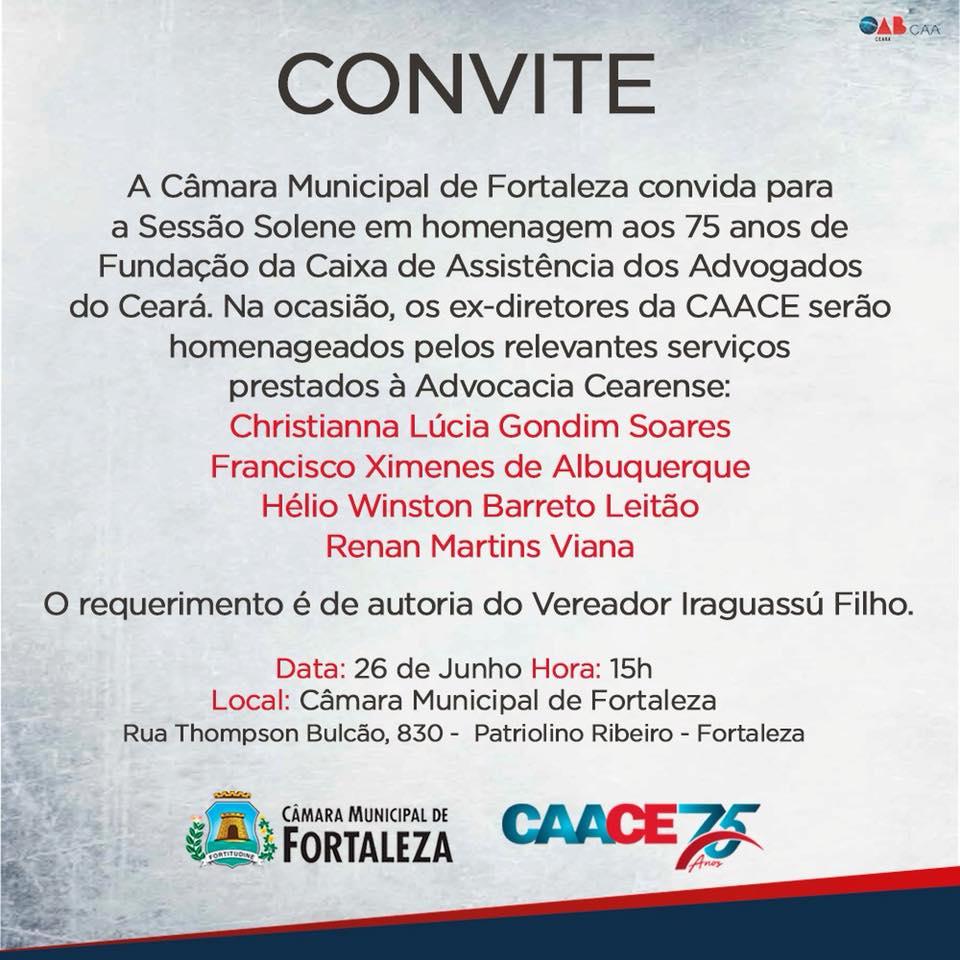 Sessão Solene da Câmara Municipal de Fortaleza em homenagem aos 75 anos da CAACE