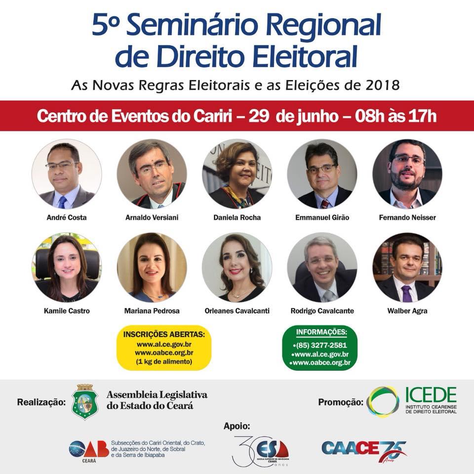 Participe do 5º Seminário Regional de Direito Eleitoral do Cariri