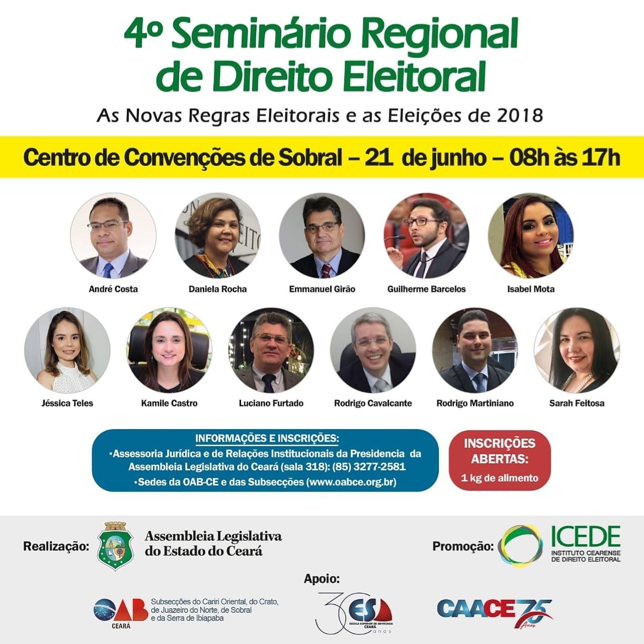 Sobral recebe Seminário sobre Direito Eleitoral no dia 21 de junho