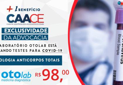 Advocacia poderá realizar testes para Covid-19 Anticorpos Totais no Laboratório OTOLABpor apenas R$ 98,00.