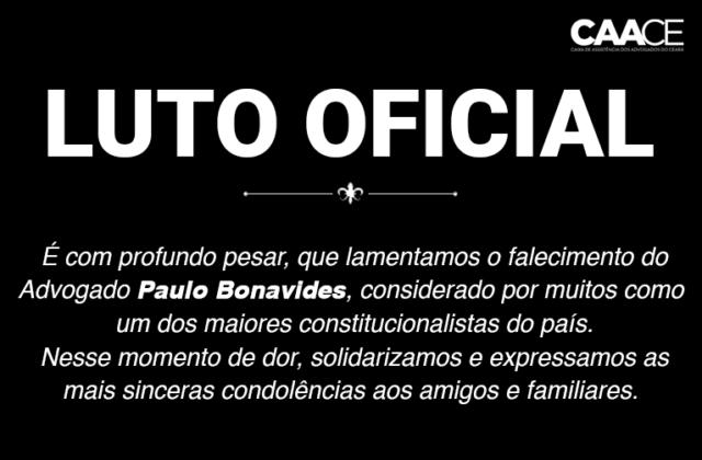 CAACE decreta luto oficial por morte de Paulo Bonavides
